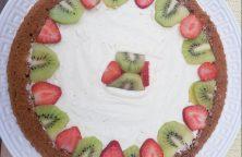 Fruittaartje kiwi-aardbei met chocolade ganache
